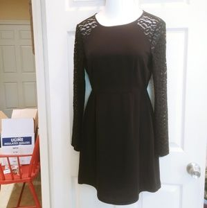 LBD with lace shoulders & sleeves